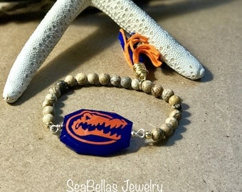 Gator fan college football stackable brown bracelets orange and blue tassel game day accessories