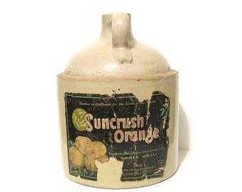 Antique Stoneware Jug Suncrush Orange 1 Gallon Rustic Country Decor