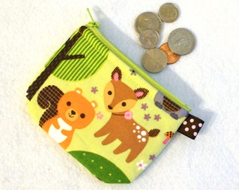 Cute Girls Mini Coin Purse Squirrel Deer Owl Little Zipper Coin Pouch Woodland Animals Green Pink Handmade