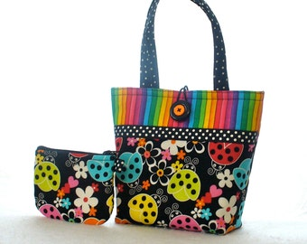 Colorful Rainbow Ladybugs Purse Little Girls Purse Mini Tote Bag and Coin Purse Set Handmade Ladybug Stripe Polka Dots Red Blue Yellow MTO