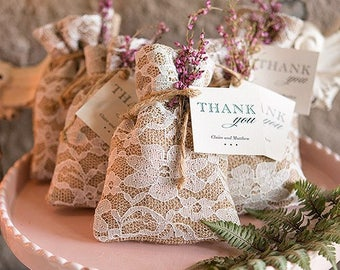 Rustic Chic Burlap And Lace Drawstring Favor Bag (set of 12) favor bag, vintage theme Wedding, reception baby shower