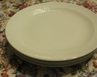 """White Ironstone Collection dinnerware by Adams English Ironstone 10"""" dinner plates set of 4 Perfect Farmhouse or cottage kitchen wall decor"""