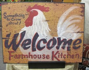 Farmhouse Kitchen,Chicken Decor,Farmhouse Wall Decor,Wooden Art Sign,16x12,Linda Spivey
