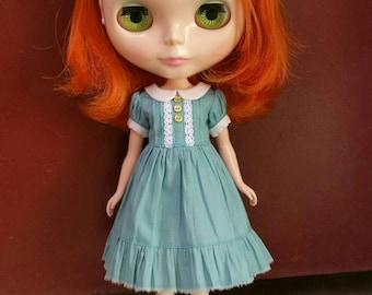 Babydoll dress for blythe - Seafoam green