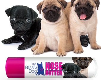 Pug ORIGINAL NOSE BUTTER® Handcrafted All Natural Balm for Dry Crusty Dog Noses One .15 oz Lip Balm Sized Tube Black, Fawn or Pug Duo Label