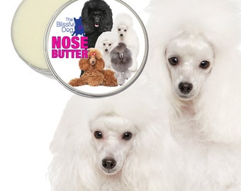 Poodle ORIGINAL NOSE BUTTER® Handcrafted All Natural Balm for Dry Dog Noses 8 oz. Tin with Toy, Mini and Standard Poodle Label in Gift Bag