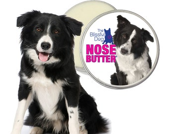 Border Collie ORIGINAL NOSE BUTTER® Handcrafted Balm for Dry, Crusty, Cracked Dog Noses Choice 1oz, 2 oz or 4 oz. Tin Border Collie Label