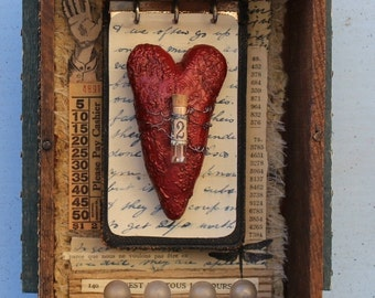 "Assemblage Art Found Object Mixed Media Shrine Shadow Box ""A Lot to Tell"""