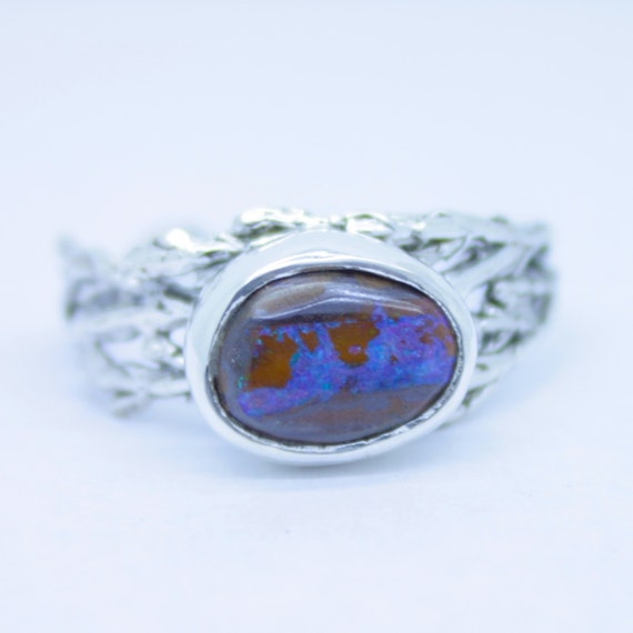 Items Similar To Opal Ring Exquisite Braided Opal: Items Similar To Boulder Opal Cedar Ring, Winter Opal Ring