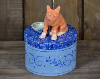 Round blue treasury / treats box with Ginger Tabby Cat sculpture figurine - handmade (ooak)