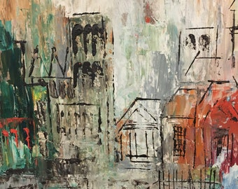 Vintage Oil Painting - Edge of Town - White Wooden Frame