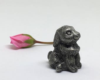 Hudson Pewter Rabbit Figurine - Miniature Bunny - 1981 - Made in USA