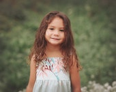 Girl's Dress - Tropical Girl's Dress - Tiger Lily in Mint  - Childrens Clothing - made in Maui, Hawaii USA