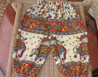 Hippie Kids Harem pants -size 2-Lg. Red Elephant - -Boys or Girls- Read measurements