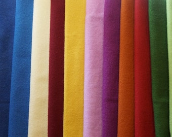 Gold, Green, Red, Blue, Purple, and Orange tones of Rug Hooking and Wool Applique Hand felted wool fabrics