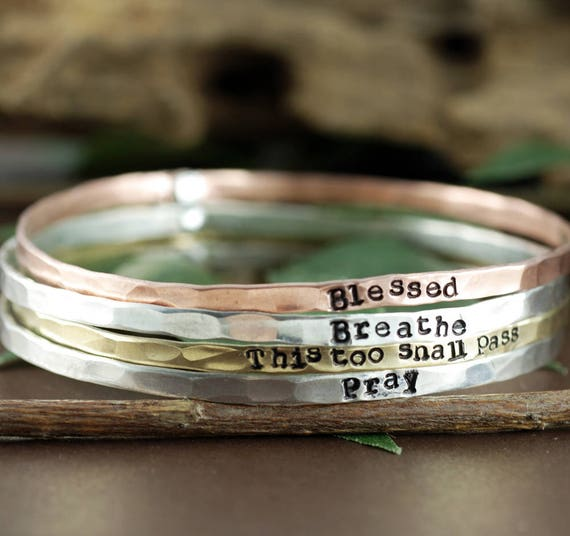 Mantra Bracelets, Stackable Cuff Bracelets, Personalized Bangle Bracelet, Gift for Mom, Custom Bangle Bracelet, Mothers Bracelet