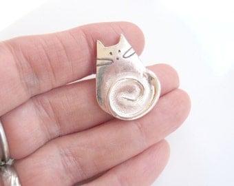 Cat Jewelry Unique Cat Pendant of Pure Silver