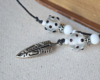 Beaded Bookmark  -  Feather Charm - Black and White Bookmark