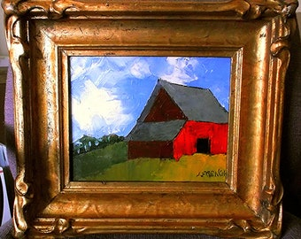 Antique Frame Impressionist Painting Plein Air FARM BARN Landscape California Art Lynne French 8x10