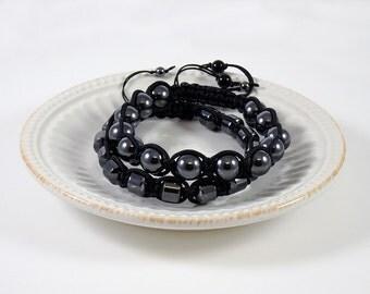 Men's Hematite Gemstone  Shamballa Bracelet