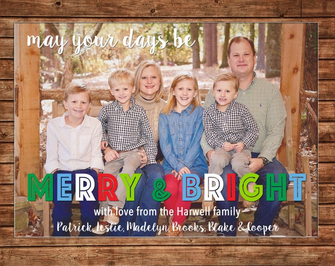 Photo Picture Christmas Holiday Card Multi Color Merry Bright - Digital File