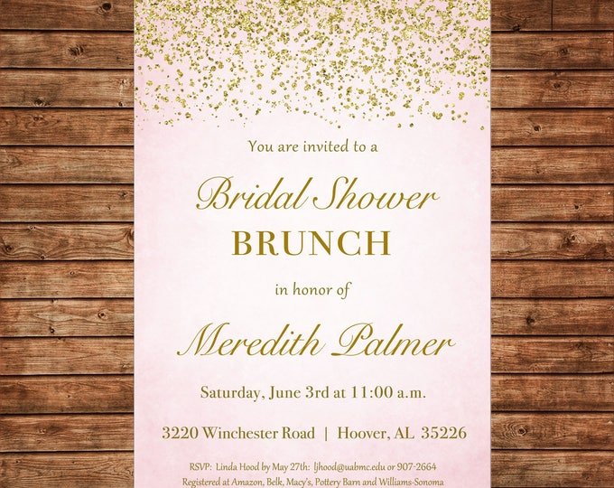 Pink Gold Glitter Confetti Couples Shower Bridal Wedding Brunch Birthday Party Invitation - DIGITAL FILE