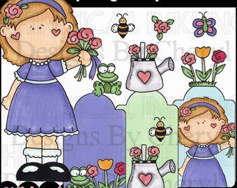 Spring Sally Clipart Collection - Immediate Download