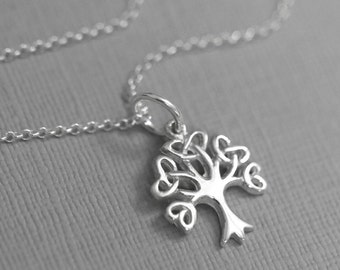 Tree of Life Necklace, Sterling Silver Tree of Life with Optional Initial Charm, Gift for Mom, Gift for Grandmother, Christmas Gift