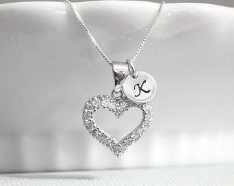 Personalized Heart Necklace, Sterling Silver Heart Necklace, Bridesmaid Necklace, Bridesmaid Gift, Bridesmaid Jewelry, Flower Girl Necklace