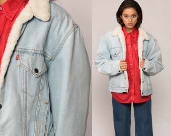 Levis Sherpa Jacket Denim Shearling Jacket 80s Denim Jacket Trucker Jean Levi Fleece Light Blue Coat 1980s Vintage Hipster Medium