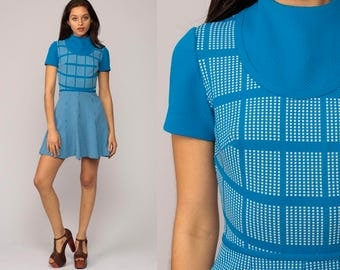 Mod Mini Dress 60s FUNNEL NECK Blue Space Age Checkered 70s Space Age Polyester Vintage Short Sleeve High Waist Turtleneck Extra Small xs