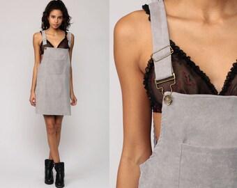 Overall Dress 90s Mini CORDUROY Dress Jumper Grey Pinafore 1990s Grunge Pocket Vintage Minidress Sleeveless Smock Gray Small
