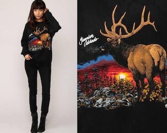 Animal Sweatshirt Deer ELK Shirt Gunnison COLORADO 90s Sunset Print Jumper Pullover Wildlife 1990s Hipster Vintage Black Large
