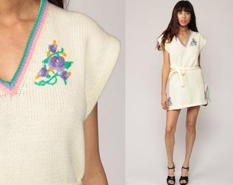 Knit Dress 70s Mini Sweater Dress Belted Off White FLORAL EMBROIDERED Cap Sleeve 1970s V Neck Boho Hipster Vintage Bohemian Medium Large