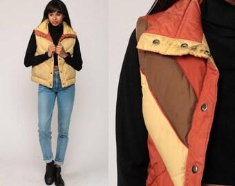 Puffer Vest REVERSIBLE Ski Vest Retro 70s Vest Chevron Striped Sleeveless Jacket 80s Puffy Tan Rust Orange Hipster Vintage Small