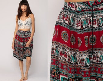 Boho Skirt Gypsy Midi Hippie Floral Indian ELEPHANT Broomstick 90s Bohemian India High Waist 1990s Ethnic Red Turquoise Extra Small Medium