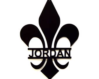 Personalized Fleur De Lis Metal Wall Art - Free USA Shipping