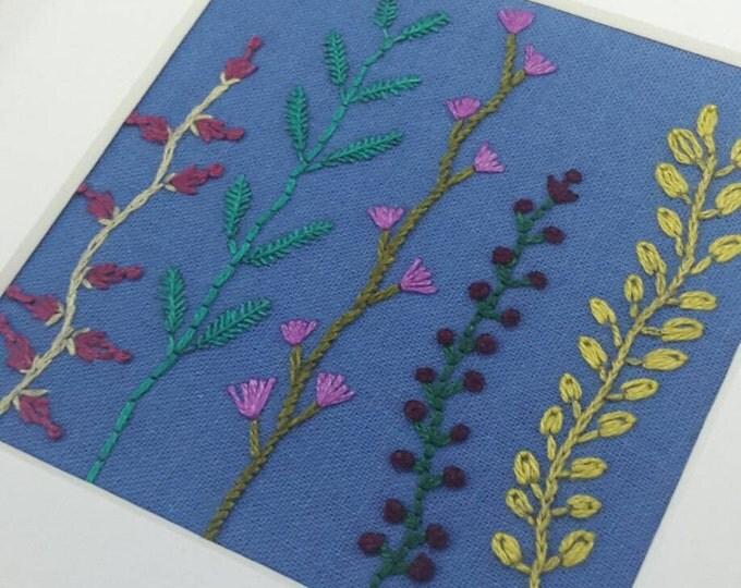 Vine Flower Framed Handmade Embroidery