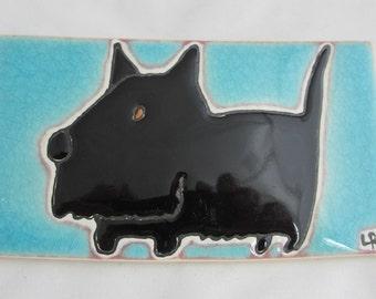 "Black Scotty  3 1/8"" x 5 5/8"" Porcelin Tile with Easel"