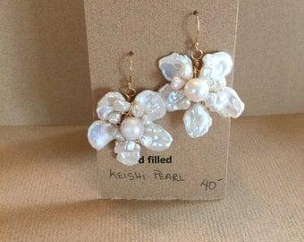 Gold filled Kieshi pearl flower earrings