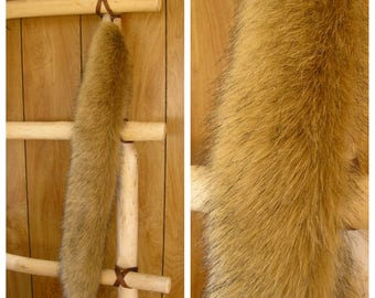 "Golden tail,  costume clip on tail, faux fur tail 28"" long and 4"" wide with a spring clip, ready to ship"