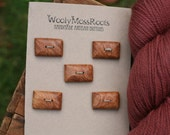 5 Maple Wood Buttons- Handmade Wooden Buttons- Eco Knitting Supplies, Eco Craft Supplies
