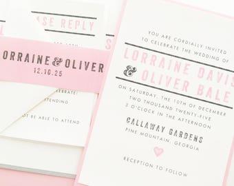 Wedding Invitation, Pink Wedding Invite | PRINTED SAMPLE