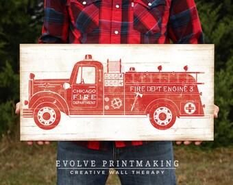"Vintage Firetruck Wall Art - Boys Room Fire Engine Truck Print Decor - Custom Wood Sign - 12x24 & 16""x32"""