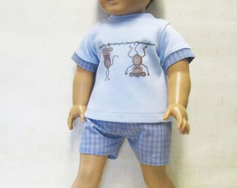 Monkey Business PJ set for Logan and other 18 inch Boy Dolls