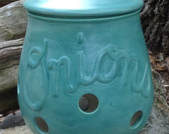 Onion pot, onion storage, canister, kitchen storage, turquoise, semi matte,gourmet, foodie, gift,  kitchen canister