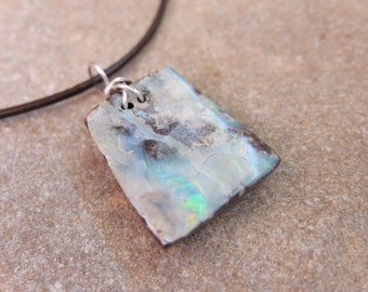 Square Boulder Opal pendant necklace  -  handmade jewelry for male, men, man or unisex jewelry - precious white opal