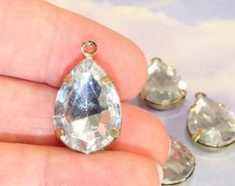 6 LARGE Teardrop Clear Crystal Rhinestone Resin Set Stones Faceted Drops 18mm x 14mm BRONZE Pronged Setting Jewelry Supplies Bulk Charms
