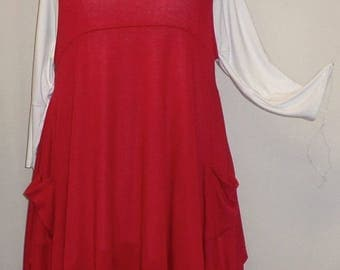 Coco and Juan, Plus Size Top, Lagenlook, Layering Top, Plus Size Tunic Top, Women's Tunic, Red, Knit Size 1 Fits 1X,2X  Bust  to 50 inches