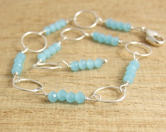 Bracelet with Tiny, Aqua Crystal Beads and Sterling Silver Loops CB-52